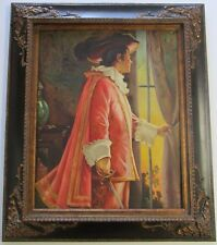 BIG ANTIQUE PORTRAIT PAINTING 1930'S - 1940'S SIGNED MAN WITH SWORD WINDOW VIEW