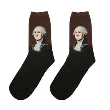 10x George Washington men's socks,Washington's painting pattern socks for man