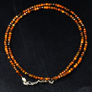 Faceted 36 Cts Natural Tiger Eye Round Shape Beads Necklace Jewelry JK 28E293