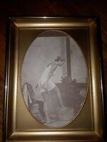 Vtg R Hendrickson Photo Woman Bathing Old West Bathing Beauty Peekaboo Washtub