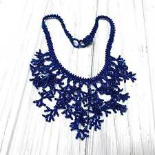 Woven Glass Seed Bead Fringe Necklace. Royal Blue. Size 15-16 inches.