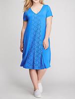 LANE BRYANT LACE INSET BLUE TRAPEZE DRESS PLUS SIZE 18/20 2X Knit NWT
