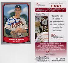 Warren Spahn Milwaukee Braves 1988 Pacific Legends Signed AUTOGRAPH JSA