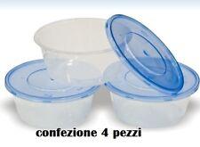 Set 4 Contenitori Multiuso Con Coperchio in Plastica Ovali 750ml Cucina moc