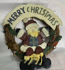 "13"" Grapevine Wreath With Wooden Santa and MERRY CHRISTMAS Sign Tin Stars"