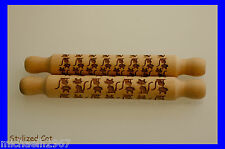 Stylized Cat Laser Engraved Rolling Pin