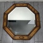 Antique 1920s Solid Carved Oak Wood Beveled Glass Octagonal Wall Mirror English