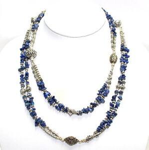 Necklace natural lapis lazuli gemstone chips beaded handmade fashion jewelry