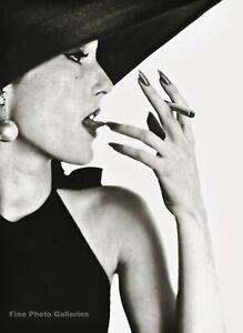 1951/84 Vintage IRVING PENN Female Fashion Black Hat & Cigarette Photo Art 11x14