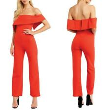 NEW BARDOT Zora FIRE RED Off the Shoulder FLARED LEG Cocktail JUMPSUIT US 6/S