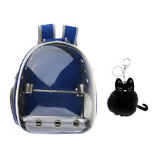 Clear Cover Parrot Bird Carrier Backpack with Perch, Feeder, Pendant, Blue
