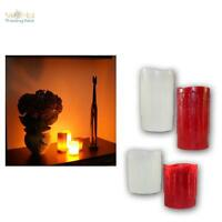 LED Echtwachs Kerze, Wachskerze mit flackernder LEDs flammenlos Kerzen aus Wachs