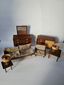 Lot of 8 Vintage 1950s Mattel Modern Mid-Century  Dollhouse Furniture Japan