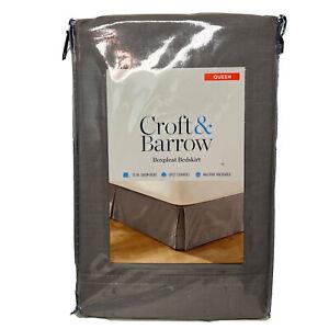 "Croft & Barrow Boxpleat Bedskirt Queen Gray  15"" Drop Skirt Split Corners NWT"
