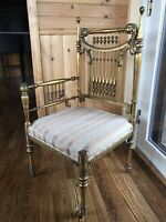 Antique Vintage Victorian Painted Upholstered Wooden Corner Chair