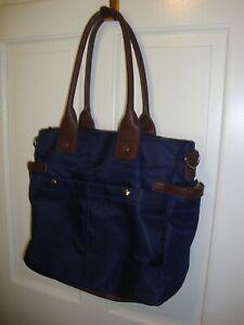 Signature Diaper Bag Messenger Canvas Blue/ Brown Baby Tote Travel Organizer 391