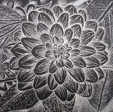DAHLIA 5 - PEN DRAWING - WHITE INK ON BLACK - ART ORIGINAL - STUDIO ANGELA