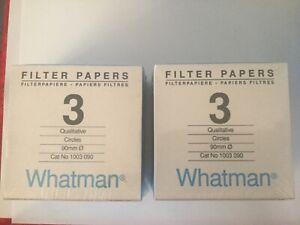 Whatman Qualitative Filter Paper Grade 3 New Sealed 2 boxes 200 circles 90mm dia