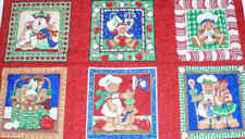 Apples and Ginger Christmas blocks panel South Seas red fabric