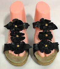 Earthies Bellini Black Floral Rosette Wedge Heel Sandals Shoes Size 8.5 B