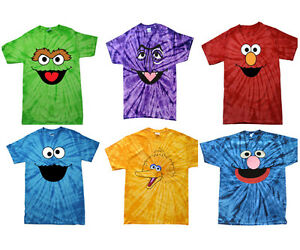 Oscar,Count,Cookie,Elmo,Big Bird,Zoe,Abby,Grover Tie Dye T-Shirt Kids And Adult