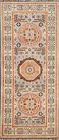 Vegetable Dye Wool Geometric Mamluk Oriental Runner Rug Hand-Knotted 3x7 Carpet