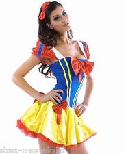 Ladies Sexy Snow White Princess Book Day Fancy Dress Costume Outfit UK 8-10-12