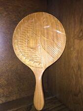 Vintage Round Beveled Hand Mirror in Wooden Frame Hand Carved Designs