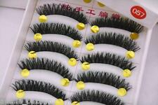 10 pairs handmade nature black soft false eyelashes reusable makeup extension