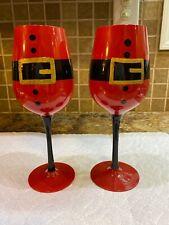 Santa Wine Glass Set Of 2 Christmas New