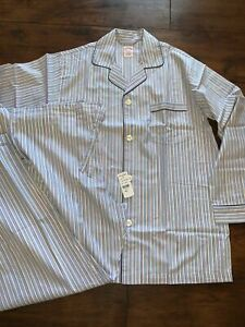 Brooks Brothers Traditional Blue Striped Pyjama Set RRP £130 Rainbow, 100%Cotton