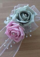 Wedding flowers bridesmaids wrist corsage baby pink/silver roses,diamante pearls