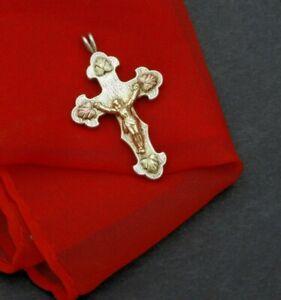 Vintage C. Co Landstroms Black Hills Gold Cross Crucifix Solid 10K Rose Gold