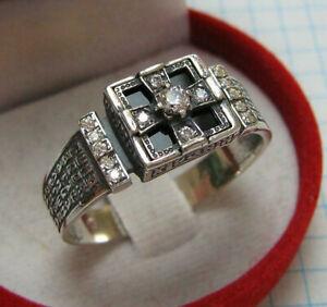 925 Sterling Silver Signet Ring Size 14 Cross Prayer Inscription Text Church 517