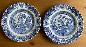 ENGLISH IRONTONE POTTERY STOKE - 2 x OLD WILLOW DESIGN SIDE PLATES (17.5cm)