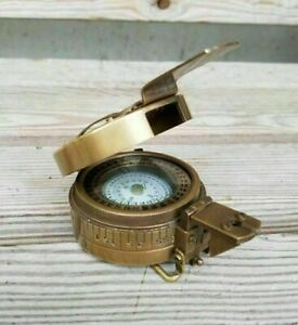 Solid Brass Antique British Military Prismatic Pocket Compass Marine Solid Gift