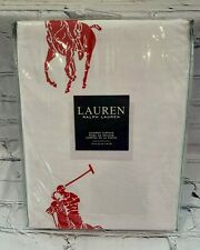 "NEW RALPH LAUREN Big Pony Red Shower Curtain 72"" x 72"" 100% Cotton Fabric"