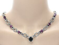 Sapphire Necklace Sapphire Ruby & Marcasite 925er Sterling Silver