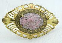 VTG Gold Tone Pink Gold Confetti Lucite Cabochon Art Nouveau Style Pin Brooch