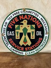 New ListingVintage 1949 'Five Nations ' Gas & Oil Pump Plate , Porcelain 12 Inch Round