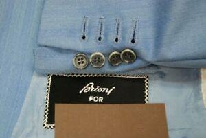 BRIONI men's custom sport jacket coat mid blue herringbone US 48L