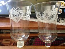 2 Vintage Glass Votive Sconce Candle Holders with Peg Hearts & Flowers Etched