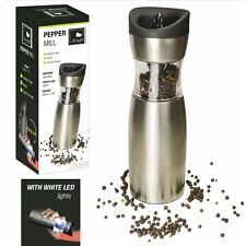 Stainless Steel Electric Salt Pepper Mill Gravity Tilt Operated Ceramic Grinder