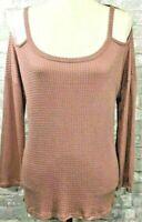 New Entro Women's Tunic Top Pink Size M Hi Low Hem Cold Shoulder Long Sleeve
