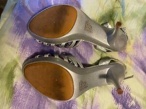 Silver and rhinestone wedding shoes size 9 women