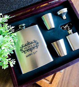 Birthday Gift - Personalise Engraved Stainless Steel Hip Flask Set in Wooden box