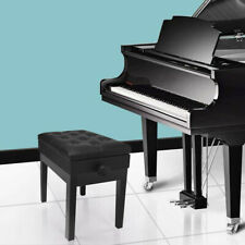 Adjustable Wooden Piano Bench Stool With Sheet Music Storage Black USA
