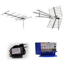 KIT ANTENNA DIGITALE TERRESTRE UHF VHF DVBT 4G LTE AMPLIFICATORE 30 22 dB 300 mA
