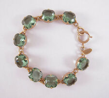 Catherine Popesco 14k Gold Plated Large Marine Swarovski Crystals Bracelet