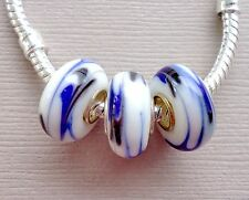 white Blue Lampwork Large hole Glass charm Beads Fits European Bracelets G28